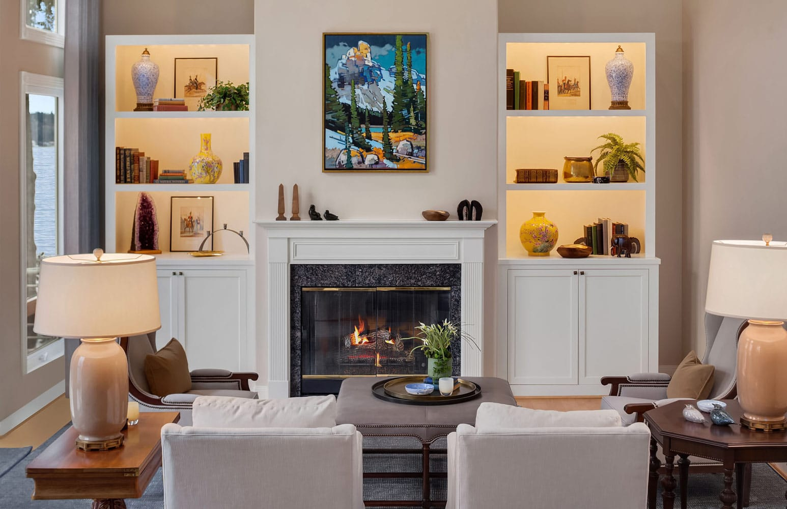 Lake Sammamish Waterfront Living Room Interior Design