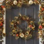 Lit Natural Pumpkin Wreath Garland O
