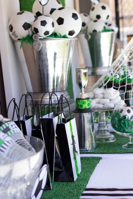 Soccer Ball Centerpieces In A Fabulous Siver Vase