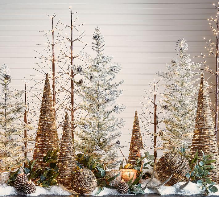 Light Up Grapevine Cone Trees O