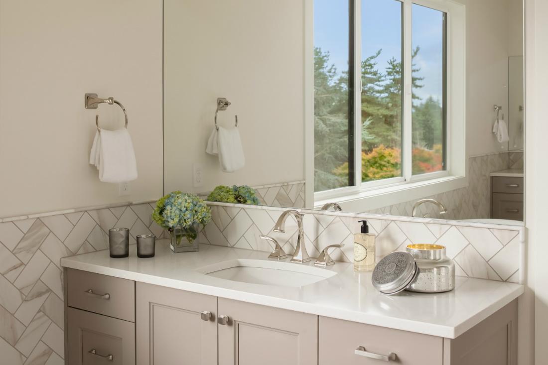 Bathroom Sink Powder Room Interior Design mercer island Wa