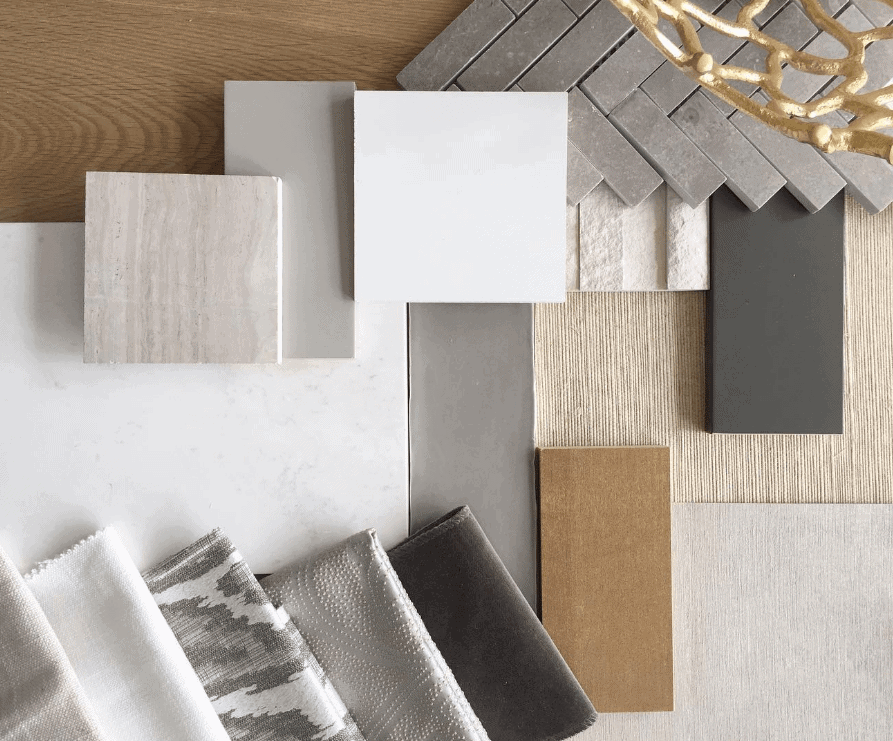 Michelle Yorke Interior Design Process Flatlay Fabric Tile Options